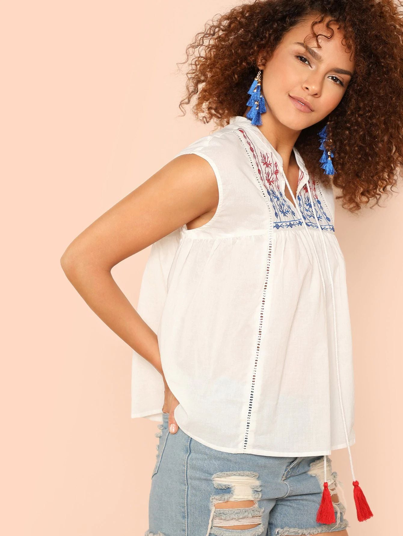 Tassel Tie Neck Sleeveless Embroidered Top