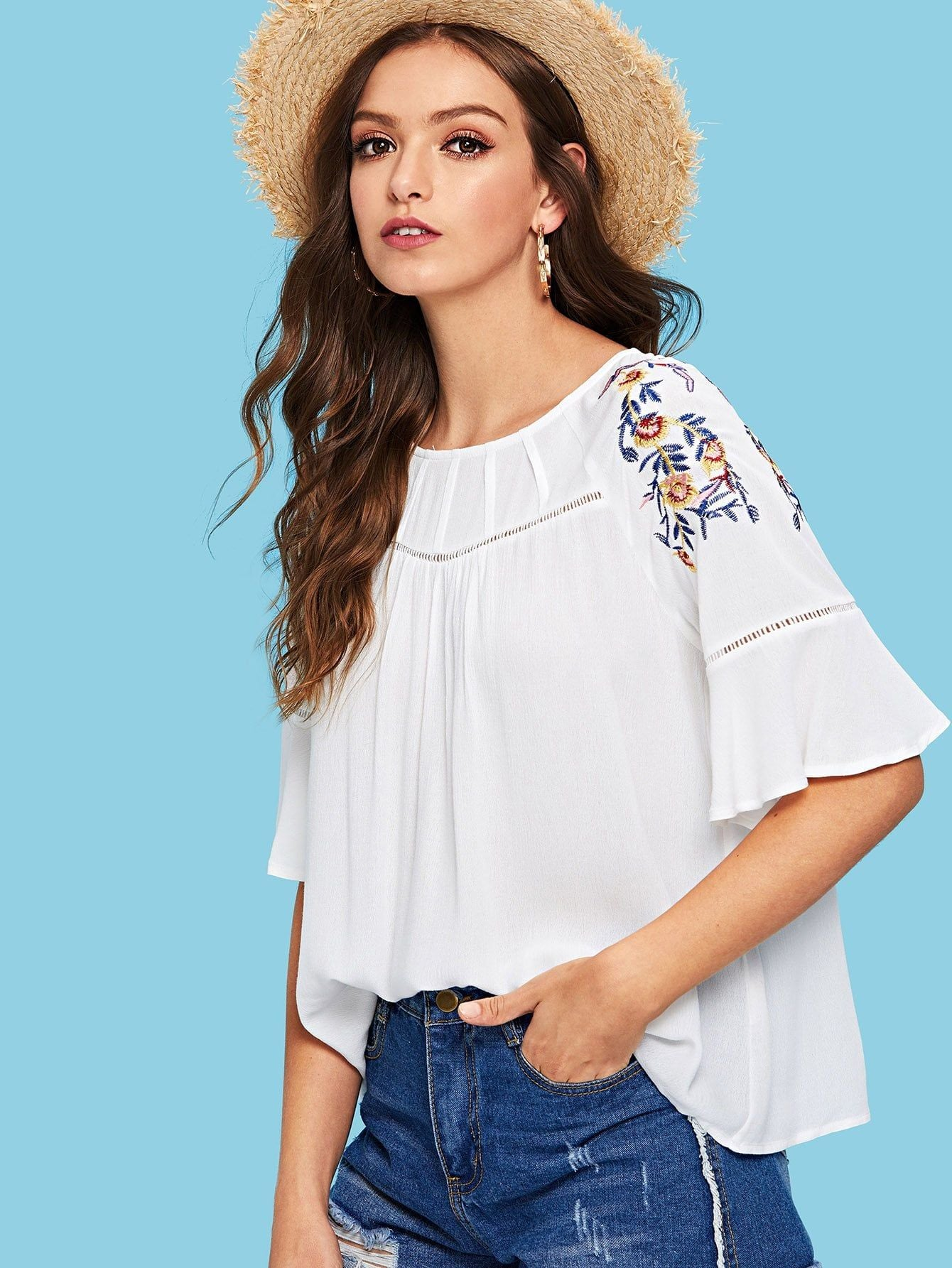 Flounce Sleeve Embroidered Blouse