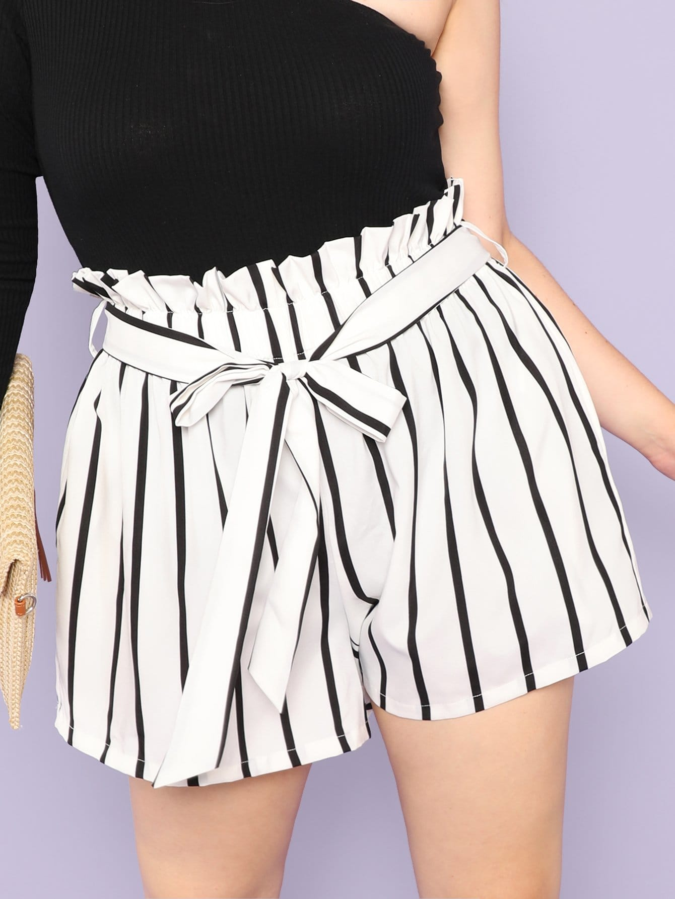 Plus Vertical-Stripe Frill Belted Shorts