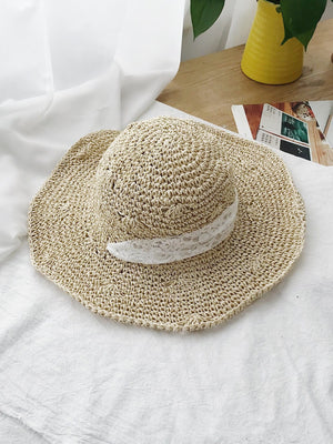 Lace Detail Straw Hat
