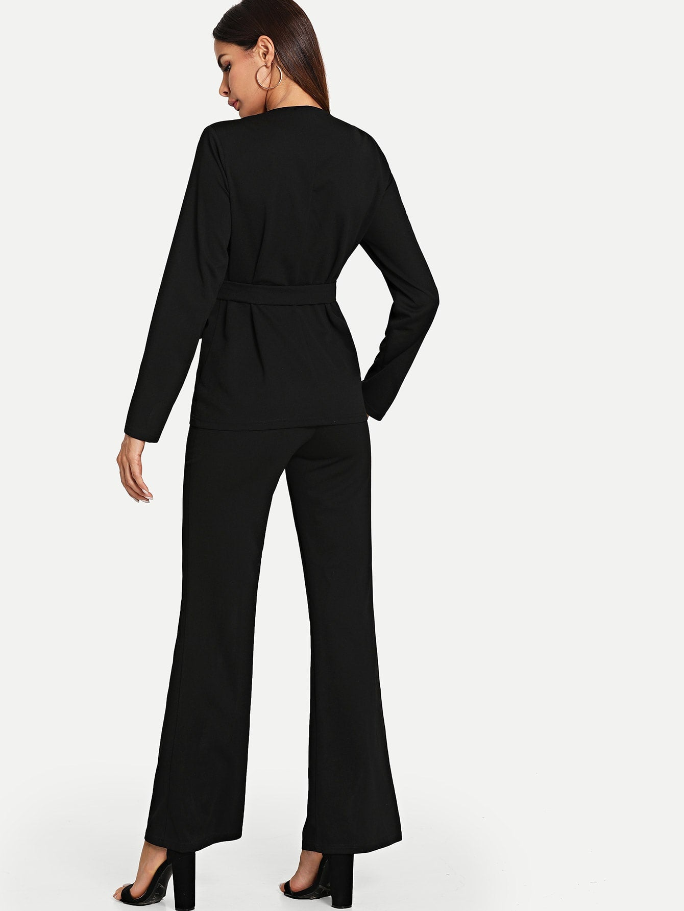 Self Belted Wrap Top & Flare Leg Pants Set