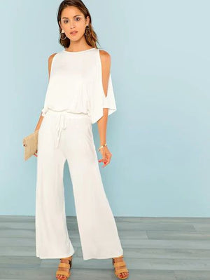 Cold Shoulder Drawstring Waist Wide Leg Jumpsuit