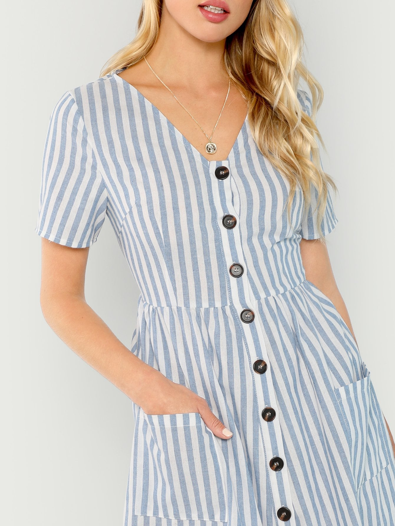 Button Up Front Plunging Dress