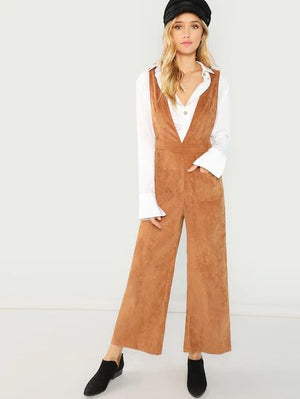 Pocket Front Wide Leg Corduroy Jumpsuit