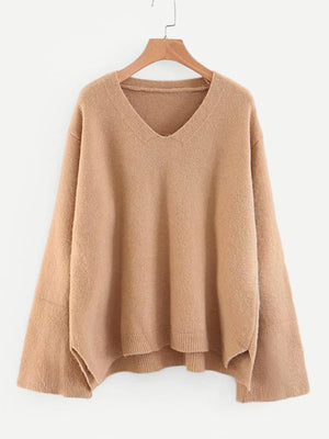 V Neckline High Low Jumper