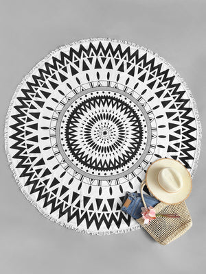 Fringe Trim Geometric Round Beach Blanket