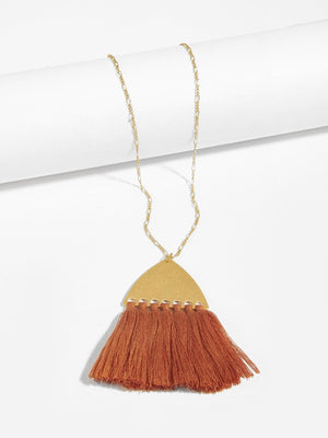 Triangle & Tassel Pendant Necklace