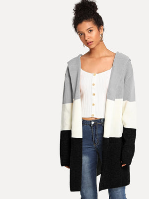 Open Front Color-Block Cardigan