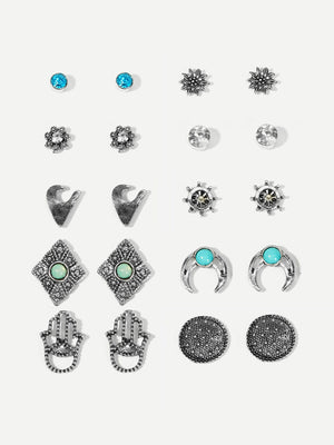 Hand & Flower Rhinestone Stud Earrings 10pairs