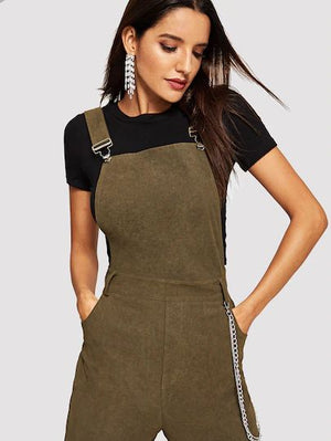 Thick Strap Pocket Patched Utility Jumpsuit