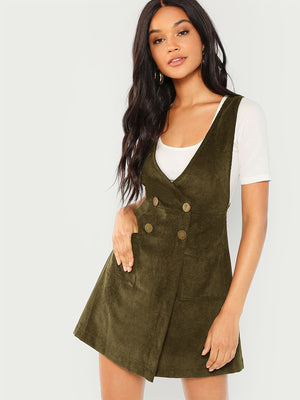 Double Breasted Overlap Corduroy Pinafore Dress