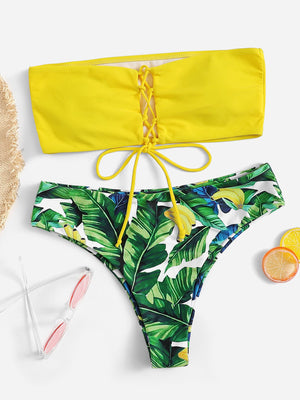 Lace-up Bandeau With Random Palm Print Bikini Set