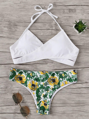 Halter Top With Random Tropical Low Rise Bikini