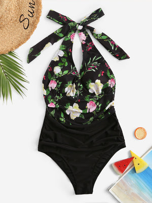 Plus Random Floral Ruched One Piece Swim