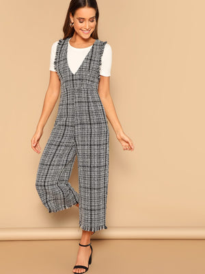 Slant Pocket Tweed Jumpsuit
