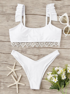 Crochet Trim Ruffle Top With High Cut Bikini