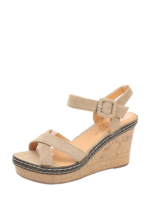 Open Toe Cross Strap Wedges