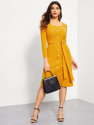 Button Front Square Neck Belted Dress
