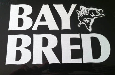 Bay Bred™ White Vinyl Die-Cut Decal with Striped Bass