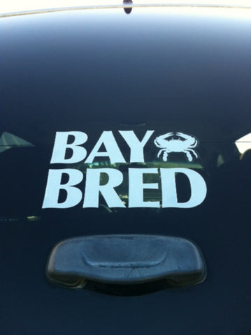 Bay Bred™ White Vinyl Die-Cut Decal with Crab