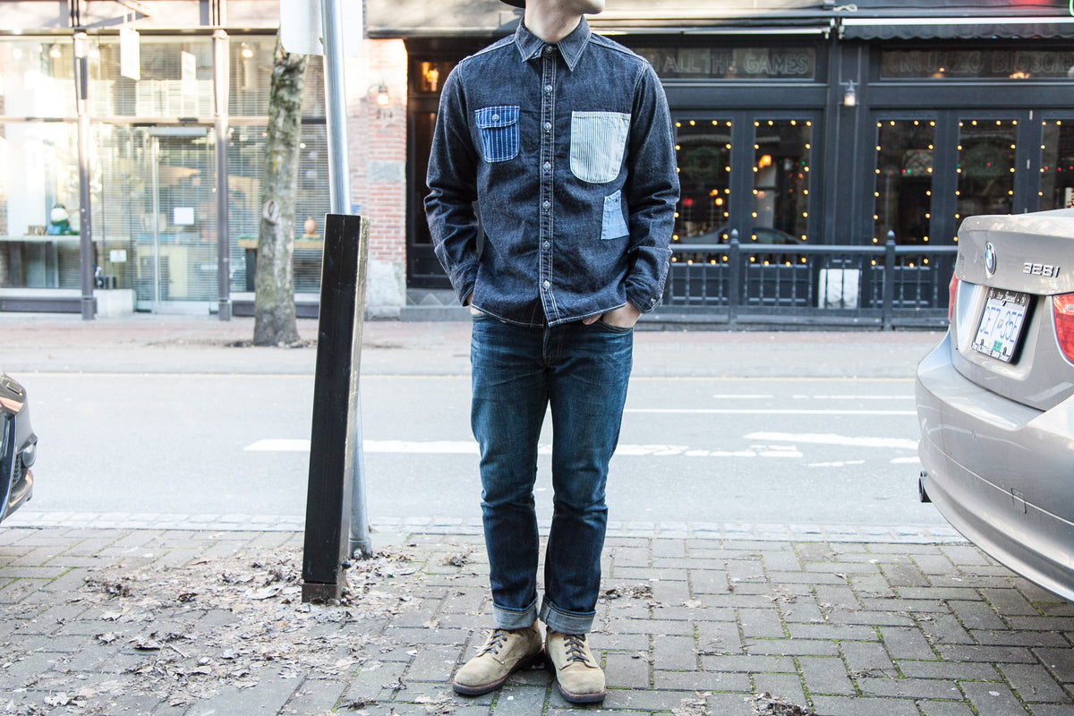 MOMOTARO: 8 OZ DENIM MULTI POCKET WORK SHIRT