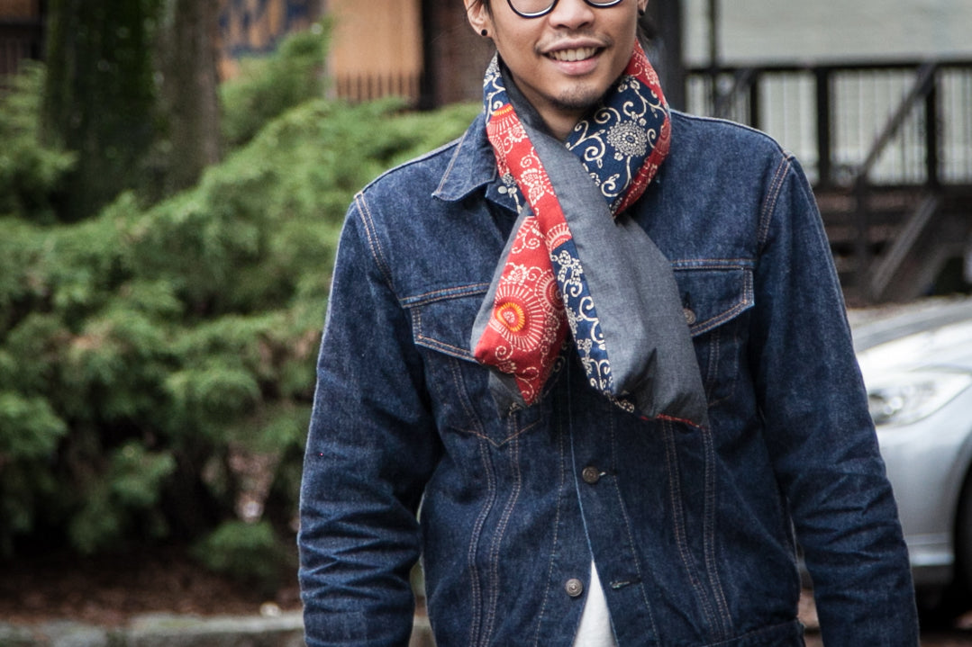 ORSLOW DENIM ON DENIM | HOLMADE REVERSIBLE DOWN SCARF
