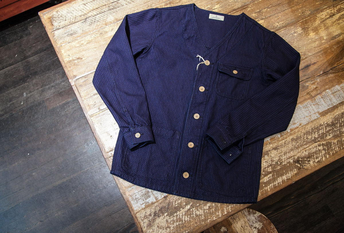 "JAPAN BLUE JEANS: NO-COLLAR COVERALL ""9.5 OZ INDIGO SASHIKO DOBBY STRIPE"""