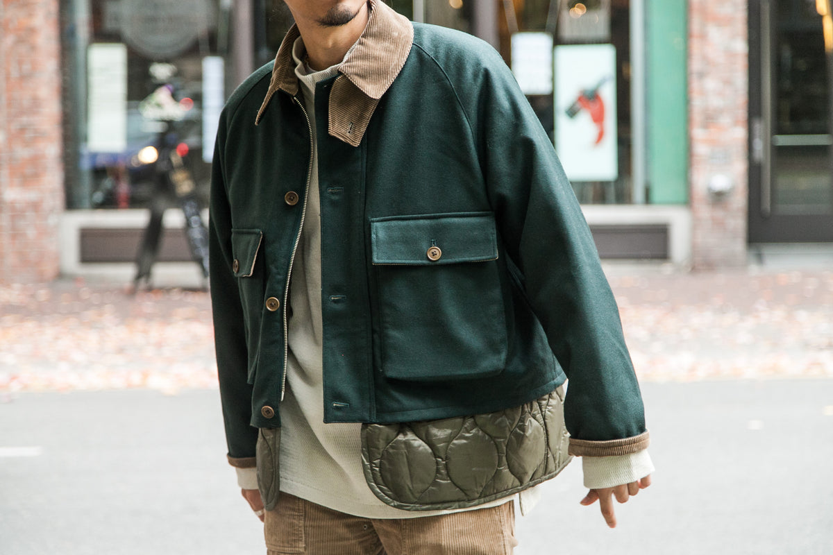 KAPTAIN SUNSHINE FW18: LAYERED FISHERMAN JKT GREEN
