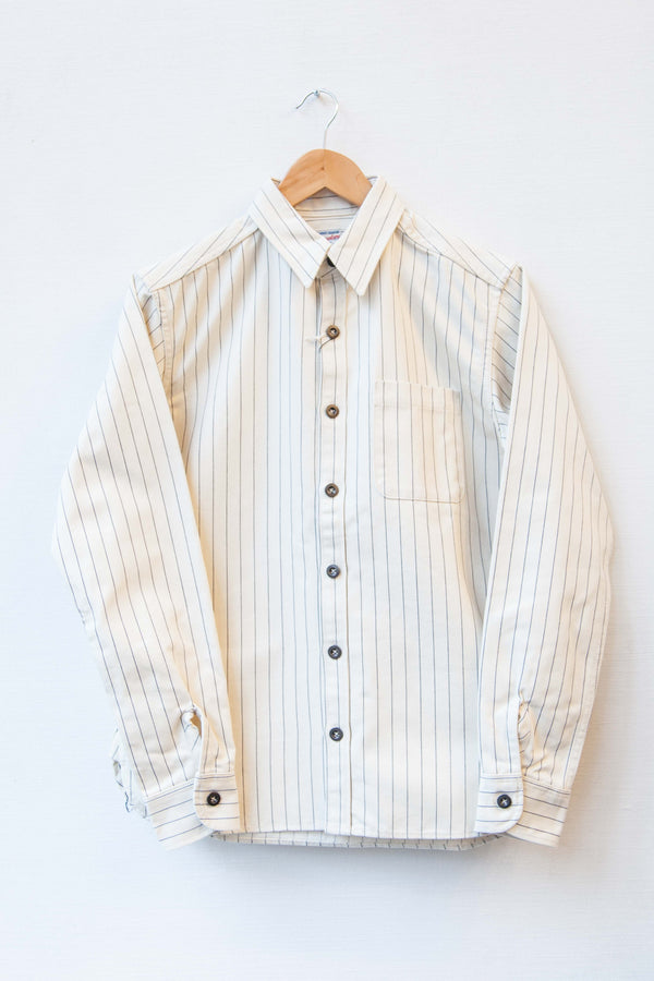HEAVYWEIGHT HERRINGBONE WORK SHIRT - WHITE