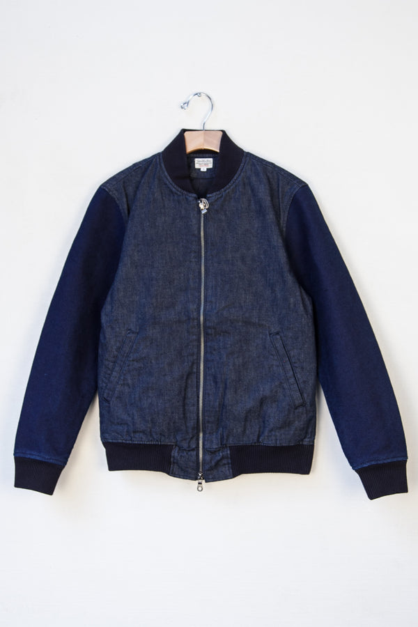 SASHIKO BOMBER JACKET - 10 OZ PW ZIMBABWE COTTON DENIM/SASHIKO