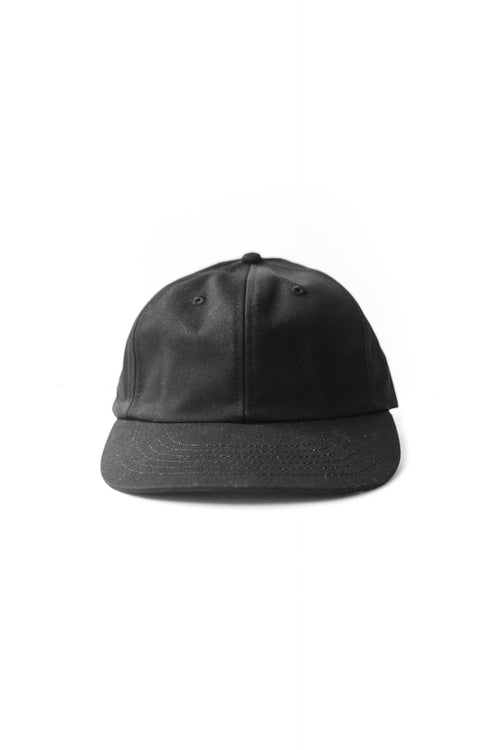SIX PANEL CAP BLACK COTTON TWILL