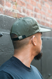 SIX PANEL CAP OLIVE COTTON TWILL