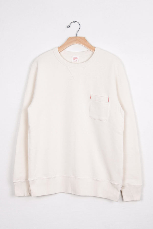 LOOPWHEELER CREW SWEAT W/ POCKET - O.WHITE