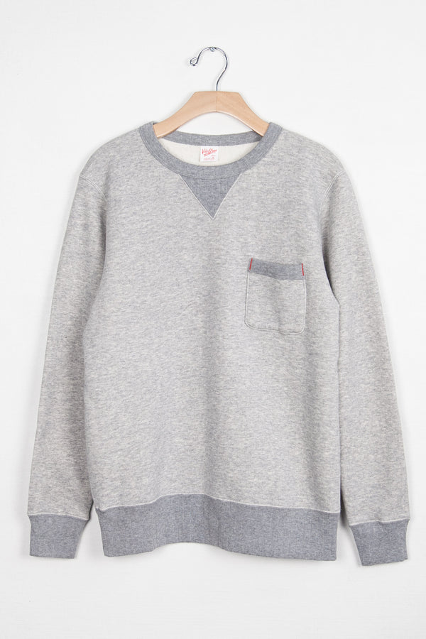 LOOPWHEELER CREW SWEAT W/ POCKET - H.GREY