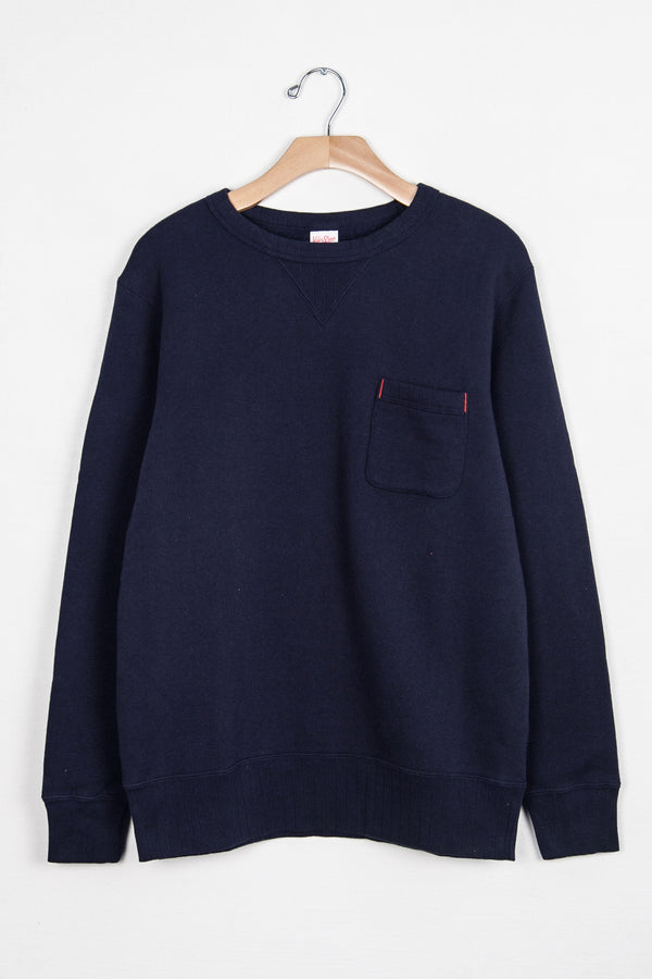 LOOPWHEELER CREW SWEAT W/ POCKET - NAVY