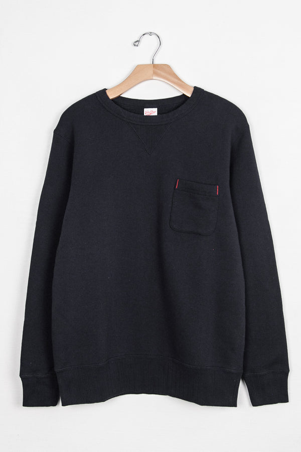 LOOPWHEELER CREW SWEAT W/ POCKET - BLACK