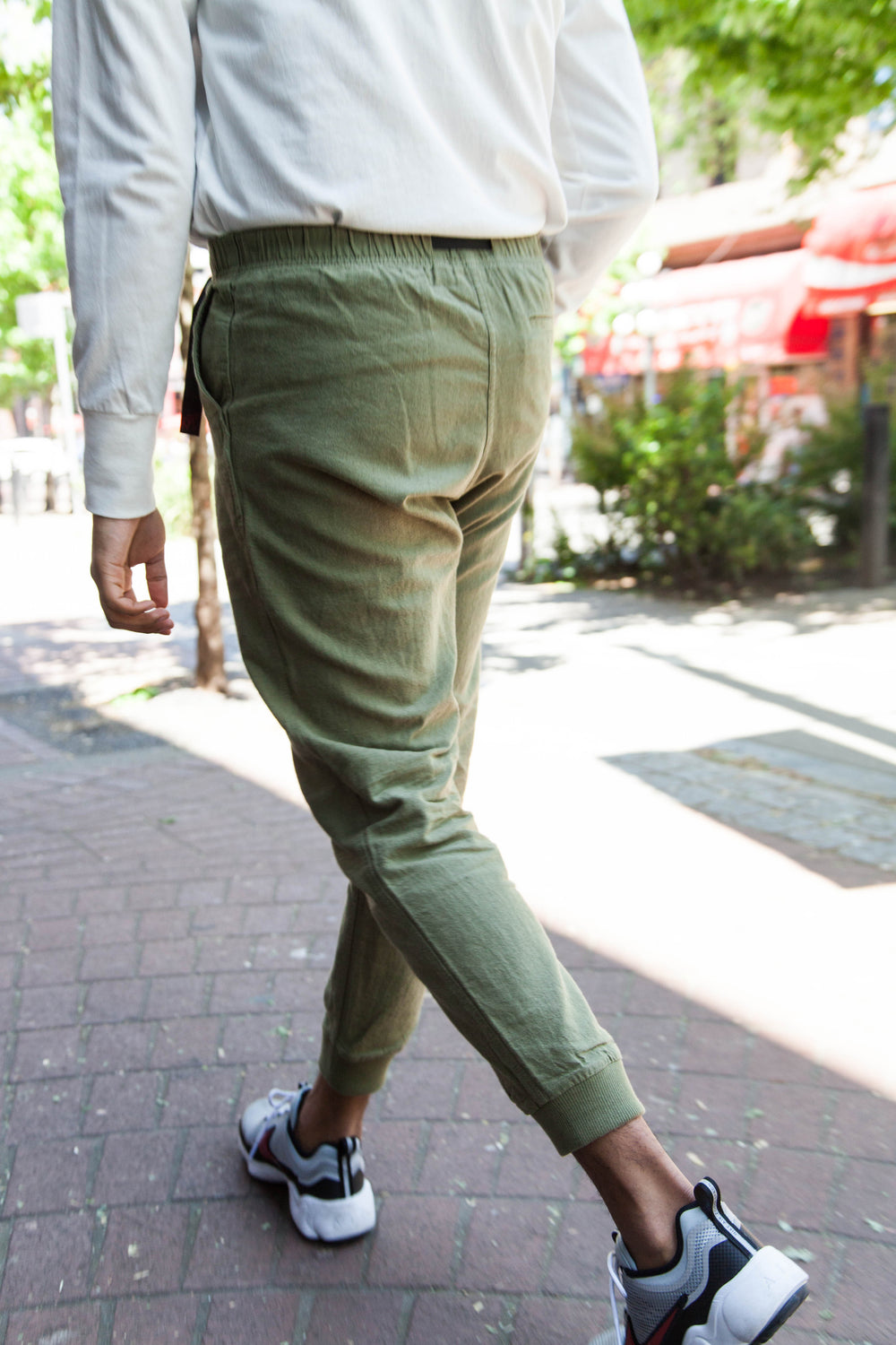 COTTON-LINEN NARROW RIB PANTS - OLIVE