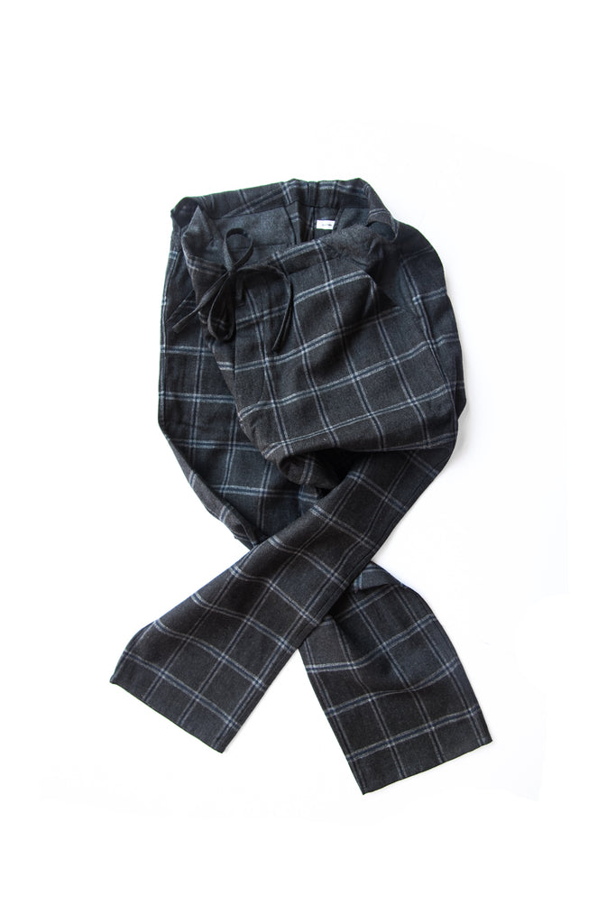 WORSTED & LINEN CHECK JUDO PANTS H. CHARCOAL