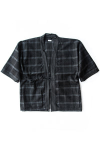 WORSTED & LINEN CHECK KENDO JACKET H.CHARCOAL