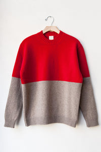 "DOUBLE BLOCK CREWNECK SWEATER ""RED/MUSHROOM"""