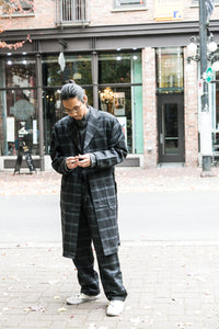 WORSTED & LINEN ENGINEER COAT H.CHARCOAL
