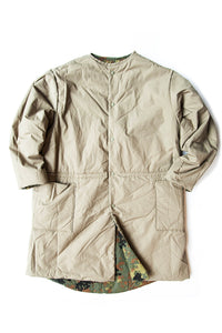 COTTON SHELL NO COLLAR COAT KHAKI X GERMAN CAMOUFLAGE