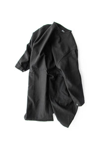 MELTON WOOL NO COLLAR COAT BLACK