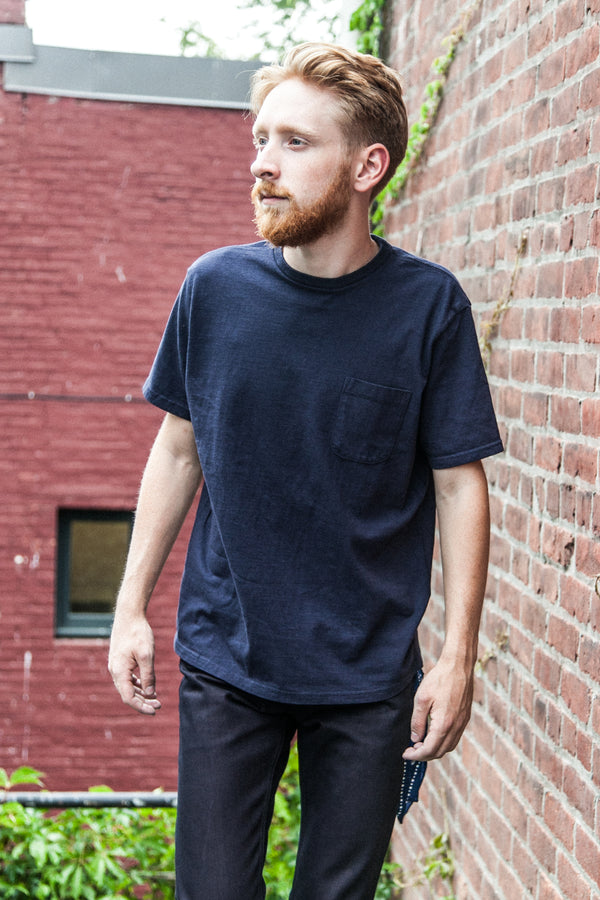 LOOPWHEELED POCKET TEE - NAVY