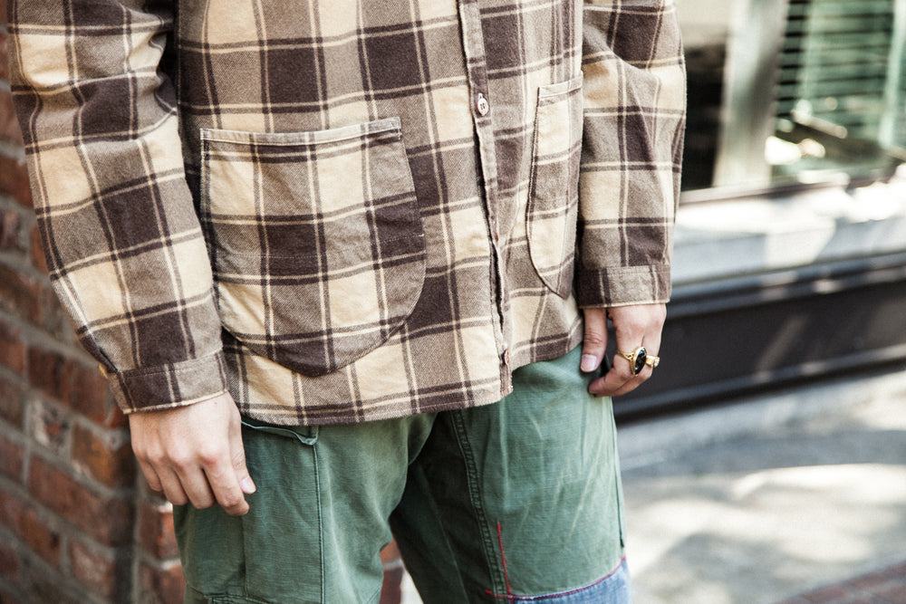 PRINTED PLAID FLANNEL SHIRT-CARDIGAN - MOCHA