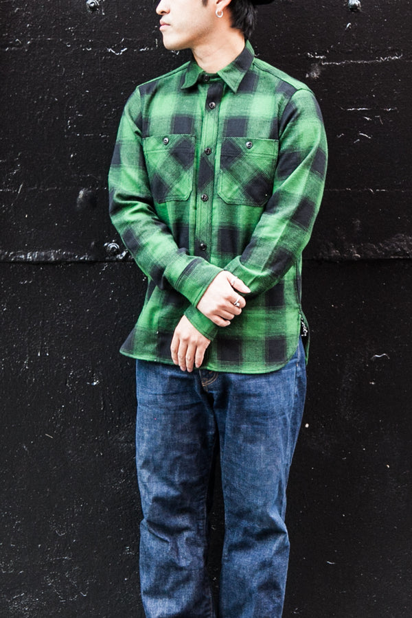 BM WORK SHIRT - GREEN NEPPY PLAID