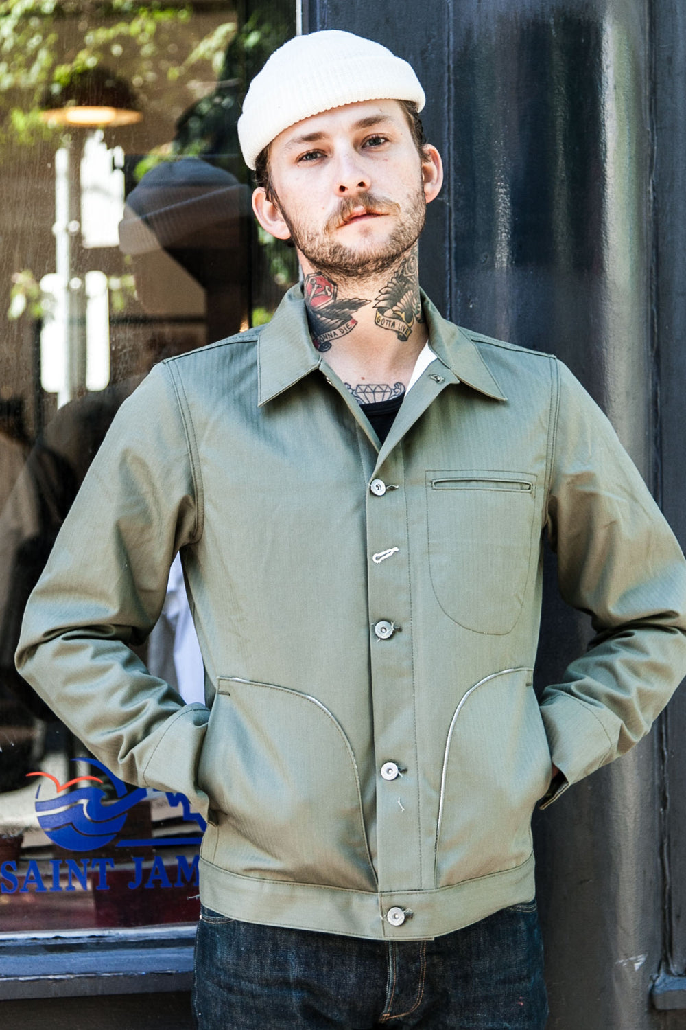 "LINED SUPPLY JACKET ""OLIVE HERRINGBONE"""
