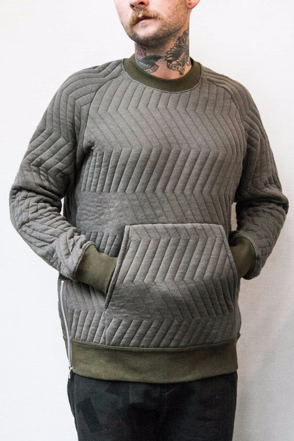 GERMAN KNIT CREWNECK SWEAT - OLIVE