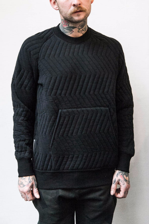 GERMAN KNIT CREWNECK SWEAT - BLACK