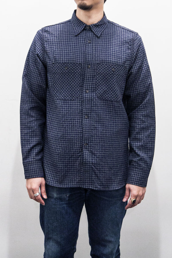 BM WORK SHIRT - NAVY GINGHAM